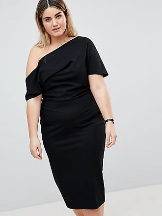 3d7b15518ee Asos Curve ASOS DESIGN Curve pleated shoulder pencil dress - Black