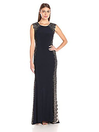 Xscape Womens Long ITY Dress with Lace Sides, Navy/Gold, 12