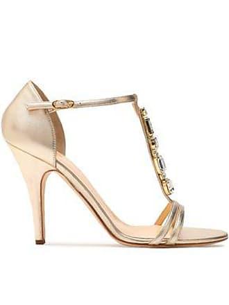 d50003e43e1 Giuseppe Zanotti Giuseppe Zanotti Woman Crystal-embellished Metallic Leather  Sandals Gold Size 41