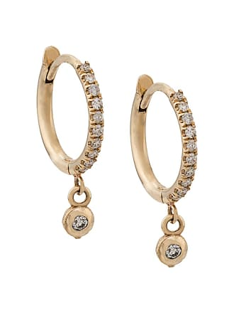 Zoë Chicco 14kt yellow gold dangling bezel diamond pave hoops