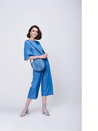 Damyller Macacão Cropped Jeans com Amarrações Tam: 38 / Cor: BLUE