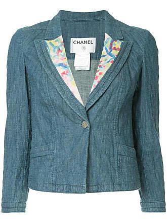 Chanel CC logos one button basic jacket - Blue