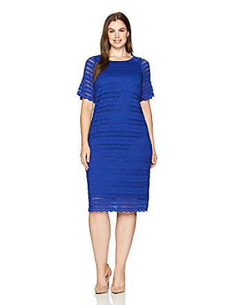 Ronni Nicole Womens Plus Size Short Sleeve Linear lace midi Length Dress, Cobalt, 14w
