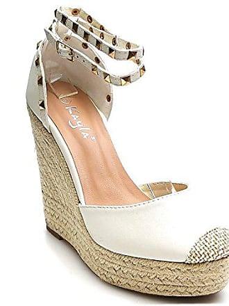 King Of Shoes Trendige Damen Riemchen Keil Sandaletten Pumps Keilabsatz  Wedges High Heels Schuhe Bequem KA1 d8535a01c3