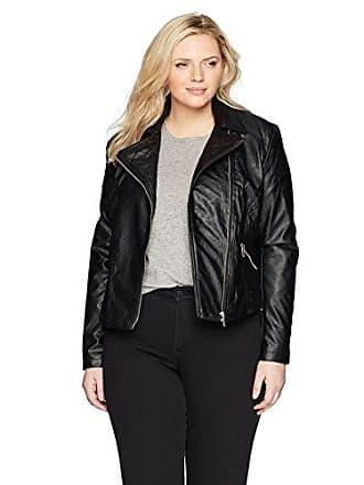 Yoki Womens Plus Size Moto Pu Jacket with Quilted Stitch Collar, Black, 2X