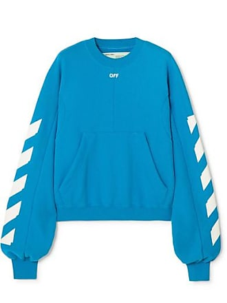 Off-white Diag Printed Cotton-blend Sweatshirt - Blue