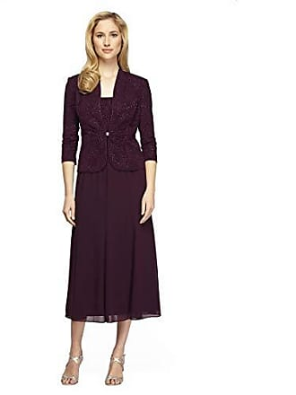 Alex Evenings Womens Tea Length Blazer Jacket Dress (Petite and Regular), Eggplant Sparkle, 16