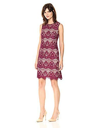 Adrianna Papell Womens Scalloped Lace, Burgundy, 2