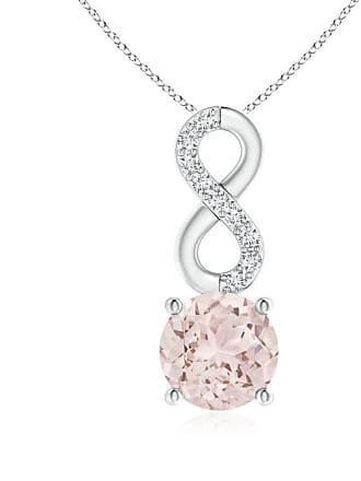 Angara Valentine Day Sale - Morganite Infinity Pendant with Diamond Accents