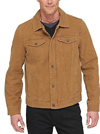 Levi's Mens Cotton Canvas Laydown Trucker Jacket, Workers Brown, Small