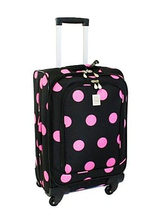 Jenni Chan Dots 360 Quattro 21-Inch Upright Spinner Carry on Luggage, Black/Pink