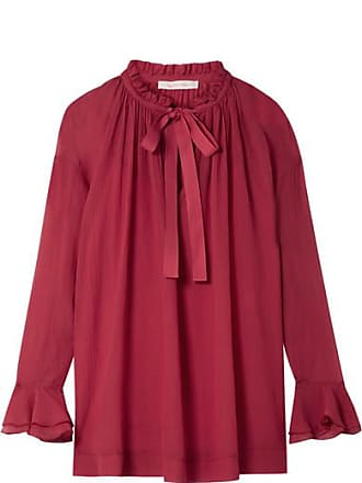 See By Chloé Oversized Ruffled Cotton And Silk-blend Crepon Blouse - Bubblegum