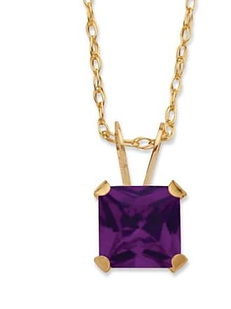PalmBeach Jewelry Princess-Cut Birthstone Pendant Necklace in 10k Gold - February- Simulated Amethyst