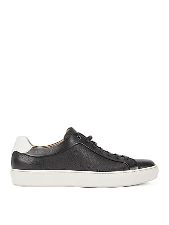 BOSS Tennis-style sneakers in grainy calf leather