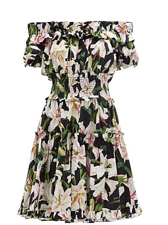 ef56a889 Dolce & Gabbana Ruffled Lily Print Cotton Poplin Bardot Dress - Womens -  Black Print
