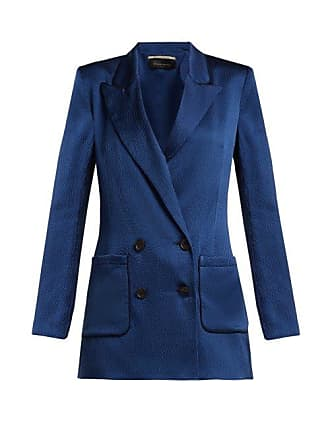 Roland Mouret Talbot Hammered Stretch Silk Blazer - Womens - Blue