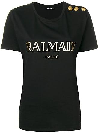 Balmain buttoned logo T-shirt - Black