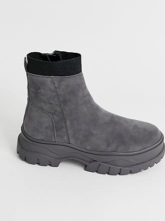 Asos chelsea boots in gray faux suede with chunky sole - Gray