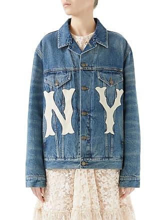 3c50dfa2fc9 Gucci Stone-Washed Denim Jacket with NY Yankees MLB Patch