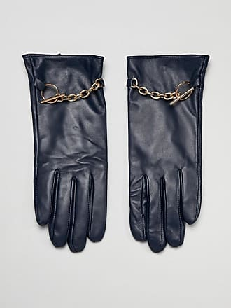 Barneys Real Leather Gloves With Chain Detail - Navy