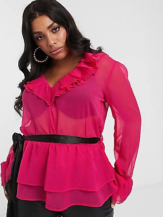 Unique21 Hero Unique 21 ruffle blouse with contrast belt in raspberry-Pink