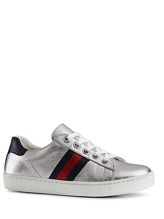 ed33143bef3 Gucci New Ace Metallic Leather Web Sneakers, Toddler/Kids