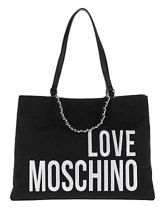 68f8d4edf5973b Love Moschino Canvas Embroidery Tote Black Tassen met handvat zwart