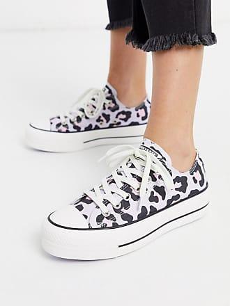 Converse Chuck Taylor Lo Lift Platform - Sneaker in Flieder mit Leopardenmuster-Violett
