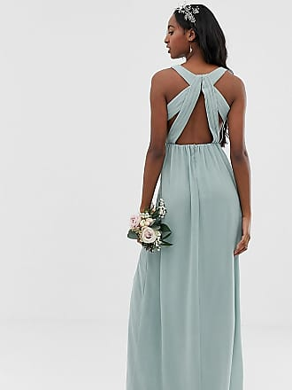 fe660b2043 Tfnc Tall bridesmaid exclusive pleated maxi dress with back detail in sage  - Green