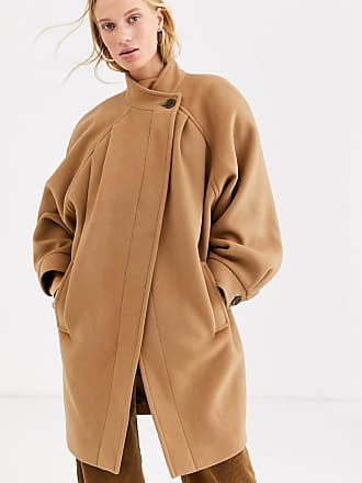 & Other Stories Capsule ovoid button detail pea coat in camel-Brown