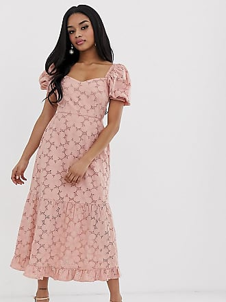 bde681e479 Asos Petite ASOS DESIGN Petite broderie maxi dress with sweetheart neckline  and puff sleeves - Pink