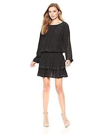 Ramy Brook Womens Sheryl Embellished Tiered Mini Dress, Black, Extra Small