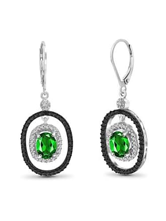 JewelersClub 2.40 Carat T.G.W. Chrome Diopside Gemstone and White Diamond Accent Earrings