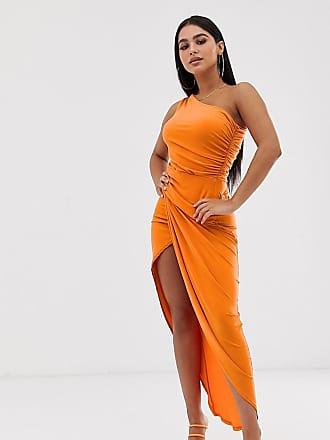 39fd09a167b7 John Zack one shoulder asymmetric midi dress with thigh split in orange -  Orange
