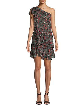 Veronica Beard Ballard Printed Ruffle One-Shoulder Mini Dress