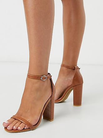 Glamorous barely there heeled sandal in tan mock croc