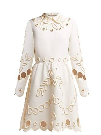 99ff3f44ce4484 Valentino Floral Piping Embellished Crepe Midi Dress - Womens - Ivory