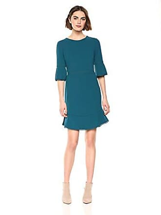Betsey Johnson Womens Scuba Crepe Dress with Bell Sleeves and Trim Detail, Teal 14