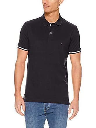 5ccc810a Tommy Hilfiger Mens Tipped Slim Fit Polo Shirt, Jet Black, X-Small