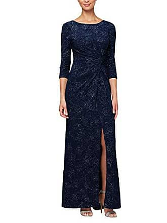 Alex Evenings Womens Long Dress with Knot Front Detail (Petite and Regular), Navy, 8
