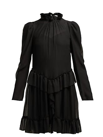 See By Chloé Ruffled Georgette Mini Dress - Womens - Black