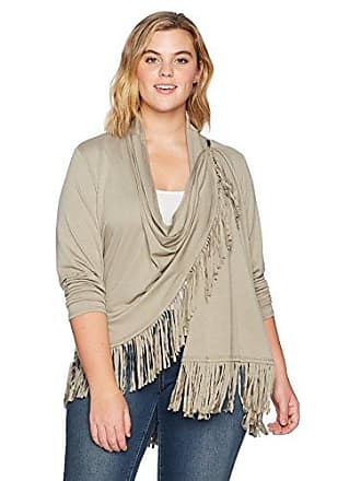 Ruby Rd. Womens Plus-Size Silky French Terry Cardigan with Closure and Fringe Hem, sage 3X
