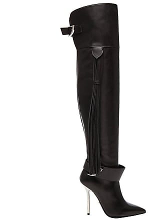 b13d36e644e Versace Black Leather Thigh High Boots With Tassel
