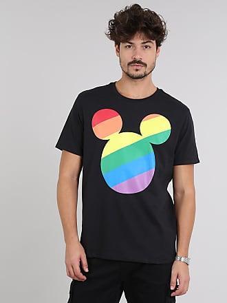 Disney Camiseta Masculina Pride Mickey Arco-Íris Manga Curta Gola Careca Preta