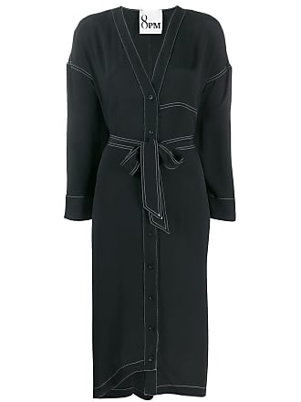 8pm V-neck shirt dress - Black