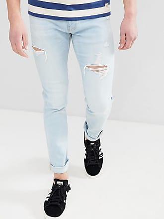 16a7bc483249 Hollister Enge Jeans mit Zierrissen in heller Waschung - Blau