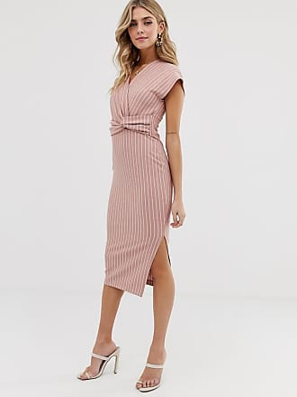 Asos midi twist front pencil dress in rose stripe - Multi