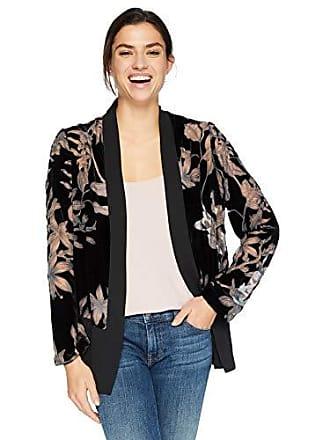 Karen Kane Womens Velvet Burnout Contrast Jacket, Black, Large