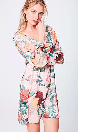 Damyller Vestido Estampado com Detalhes e Decote Tam: PP/Cor: ROSA/VERDE