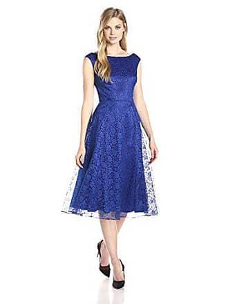 Betsey Johnson Womens Sleeveless Fit-and-Flare Lace Dress, Blue, 6